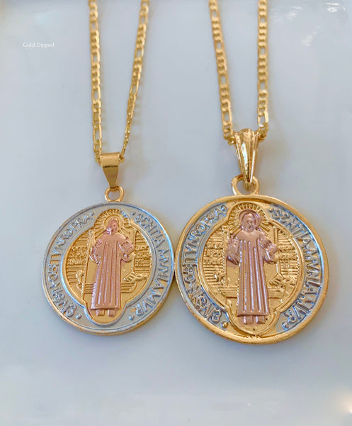 Unisex Tricolor Gold Plated Saint Ben Medallion Necklaces In 2 Sizes
