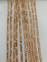 Medium Width Rose Gold Plated Figaro Chains In Multiple Lengths