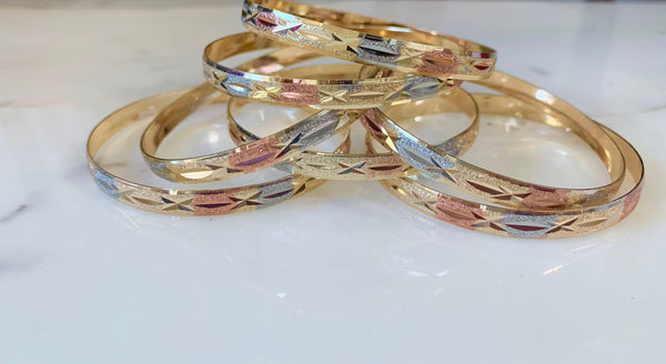 Star Design Tricolor Gold Plated 7 Bangle Set