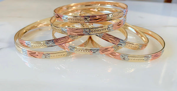Arrow Tricolor Gold Plated 7 Bangle Set