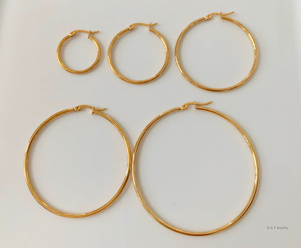 Classic Gold Plated Hoops In 5 Size Choices