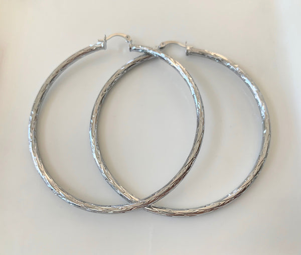 White Gold Plated Hoops With Beautiful Detailing