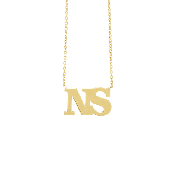 Block Initial Necklace - Mayblu