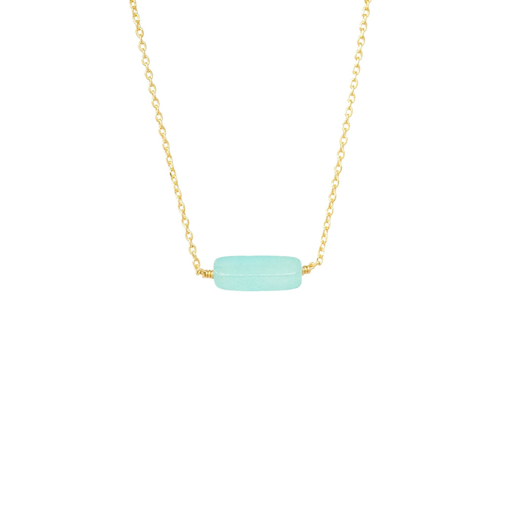 Dainty Gemstone Bar Necklace - Mayblu