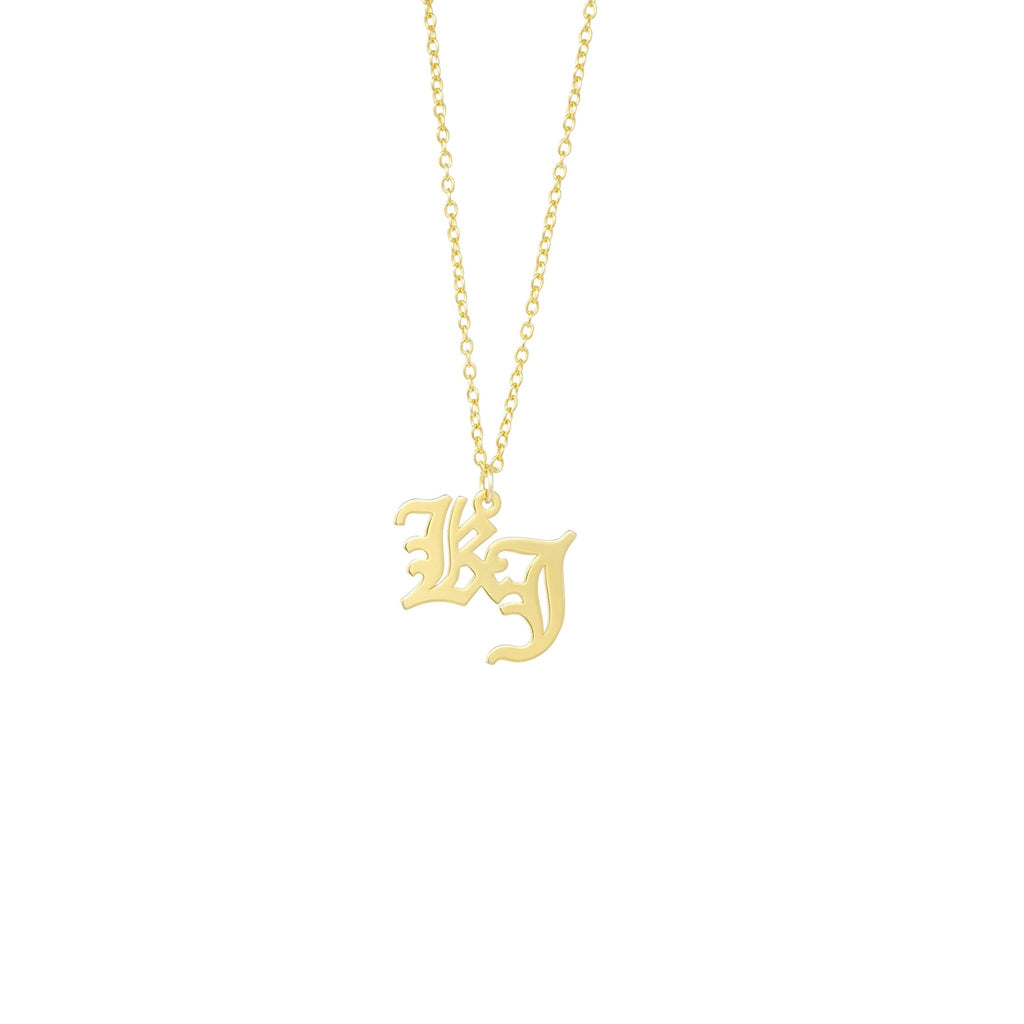 Gothic Initial Necklace - Mayblu