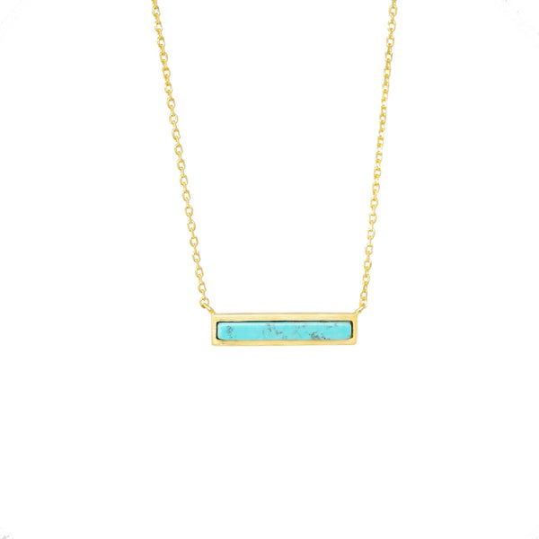 Turquoise Bar Necklace - Mayblu