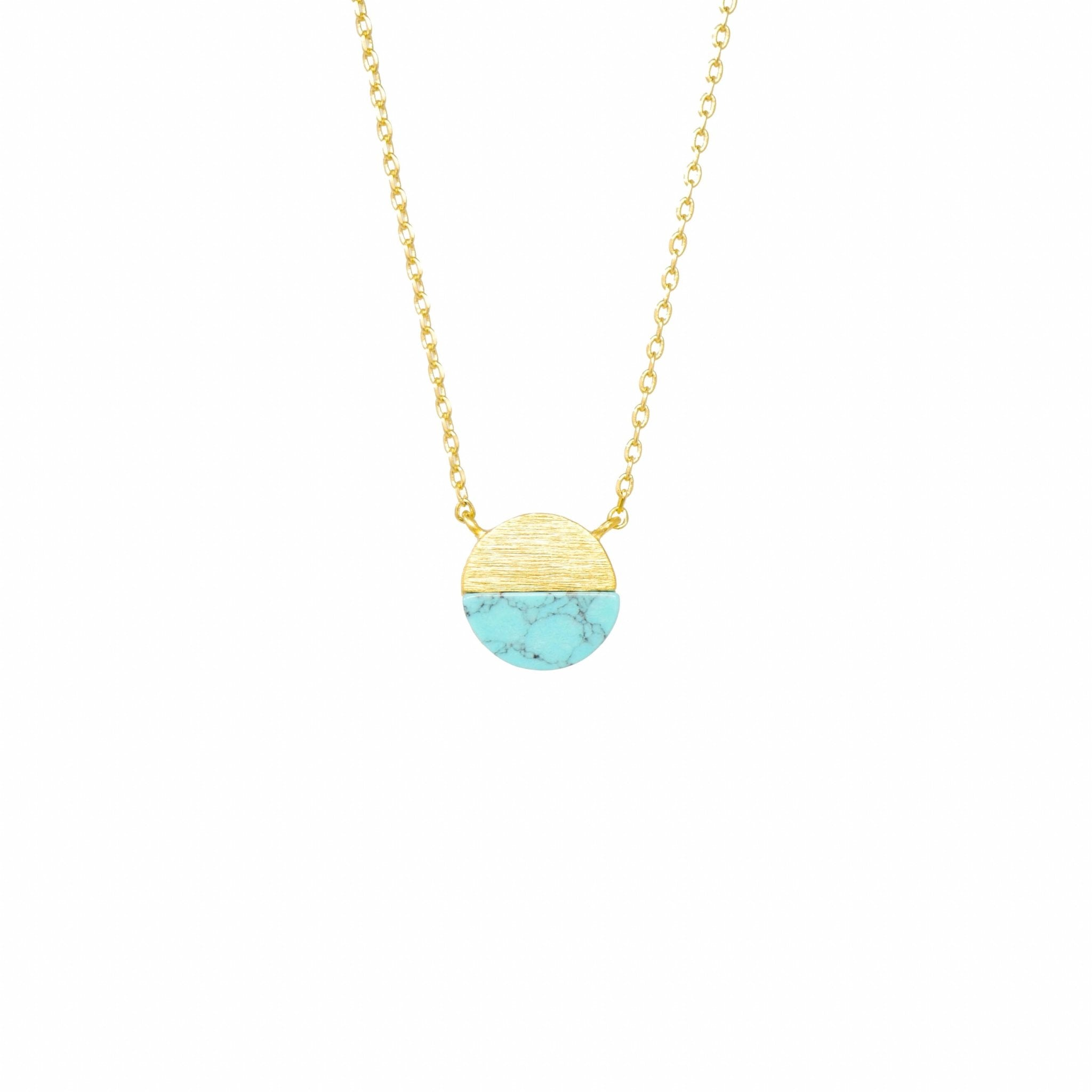 Turquoise Semicircle Necklace - Mayblu