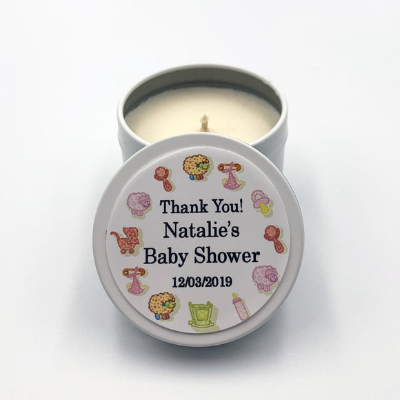 Baby shower label candle