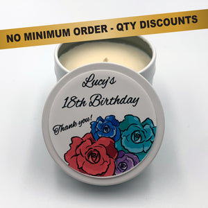 Personalised Party Favour Candle Modern Rose