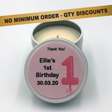 Personalised Party Favour Candle Girls 1st Birthday
