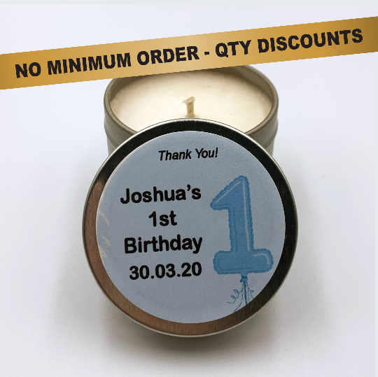Personalised Party Favour Candle Boys 1st Birthday