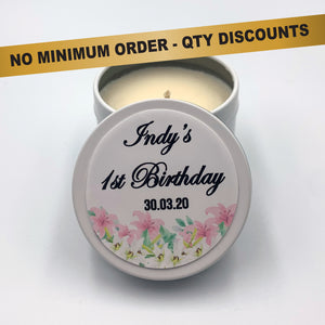 Personalised Party Favour Candle Bridal or Birthday Lillies