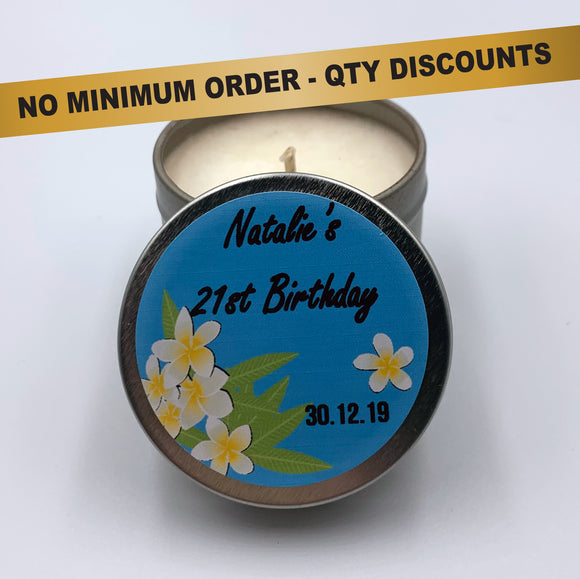 Personalised Party Favour Candle Frangipani Tropical Birthday