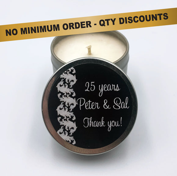 Silver personalised candles coconut and soy wax party favours, anniversary, birthday party events, celebrations, wedding, engagement, housewarming, dinner parties, goodie bag silver scroll design on black label
