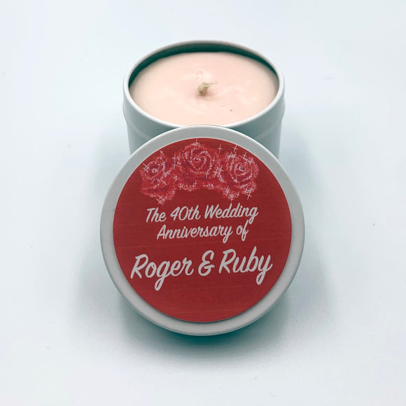Personalised Party Favour Candle 40th Wedding Anniversary