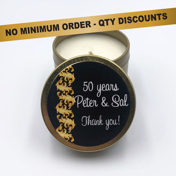 Personalised anniversary candles coconut wax, 50 anniversary, parties events, party favour, gold ribbon decoration black label, birthday party, any event your words