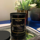 Black glass candle tumbler with lid, gold lettering black label