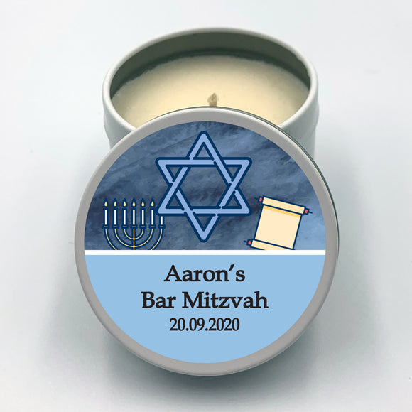 White candle tin party favour with boy's Bar Mitzvah blue label design
