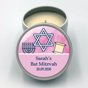 Personalised Party Favour Candle Girl's Bat Mitzvah Pink