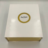 White and gold presentation candle gift box, sparkle gold inlay at front of box