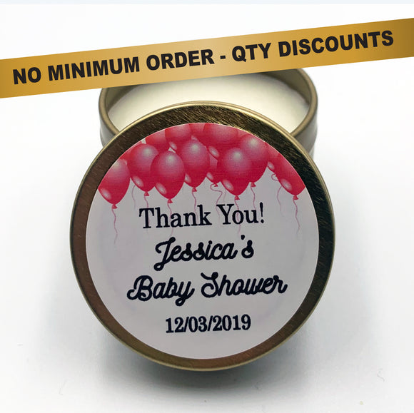 Personalised gold candles with custom text Baby shower Pink Balloons Celebrations style on white background
