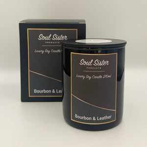 Natural Soy Wax Candle Bourbon & Leather