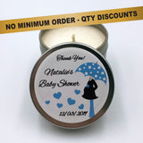 Personalised Party Favour Candle Baby Shower Blue Umbrella