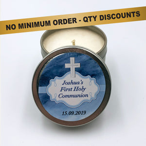Personalised Party Favour Candle Boys Holy Communion Christening Baptism Blue