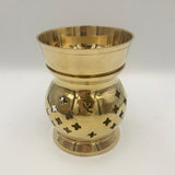 Brass melt burner with star shape cutouts decoration with removable bowl