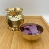 Brass wax warmer with cutout shapes design and removable bowl