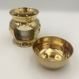 Classic style brass melt burner with cutout design and removable bowl