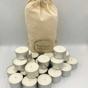 Bulk bag calico 25 deep cased aluminium tea light candles soy and coconut wax, stamped Soul  Sister Products