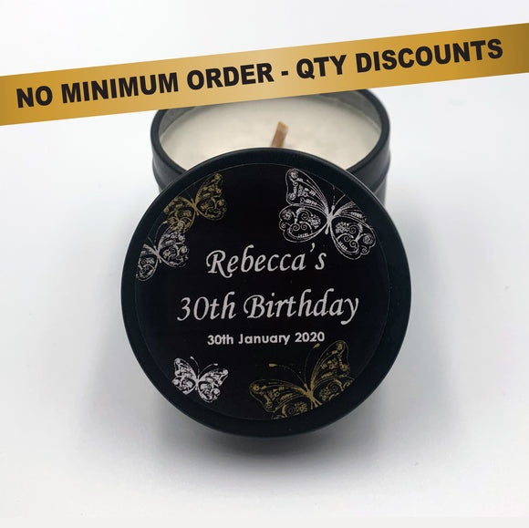 Personalised Party Favour Candle Elegant Silver Butterfly Design