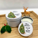 White candle tins with Christmas Tree designs