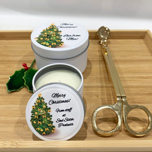 White tin candles with Christmas Tree design label and gold wick trimmers