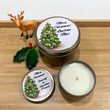 Gold Christmas candle tins large and medium size with Christmas Tree design labels, gold decorated fir green tree on white background and personalisation text