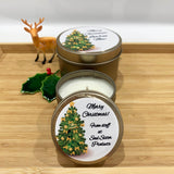 Gold Christmas candle tins large and medium with Christmas fir tree, gold decorated label design and personalisation text