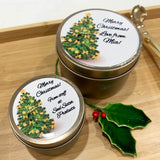 Gold candle tins large and medium size with Christmas Tree design labels and personalisation text