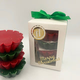 White box with red and green wax melt tarts