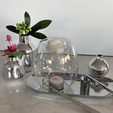 Pearl clear wax melts burner with melts in the bowl and silver decor