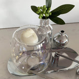 Melt Burners pearl clear with wax melts and silver decor