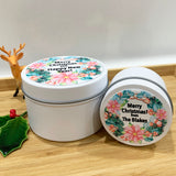 White Christmas candle tins with colourful Wreath design personalised labels