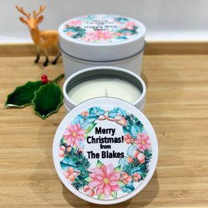 White Christmas candle tins with colourful Christmas wreath design labels and personalisation text