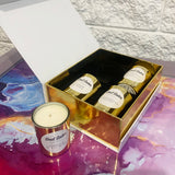 Mini gold candles in a white box gift set Sugar Kisses, Candied Apple Mint, Gingerbread Bakery