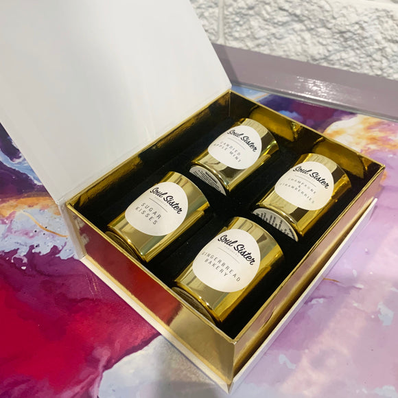 Gold candle gift box, mini candles dolce collection,