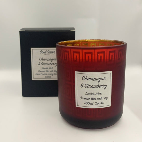 Natural Coconut Wax Red Candle Champagne and Strawberry