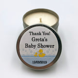 Personalised baby shower party favour silver candle, baby and mother duck, party candles, events, birthdays, special occasion candles, boys or girls