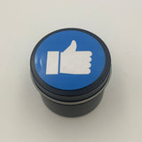 Black candle tin with Facebook 'like' sign design label