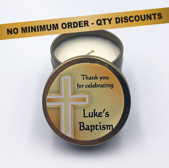 Personalised Party Favour Candle Christening Baptism Gold Cross
