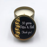 Personalised candle black with gold trailing ribbon 50th anniversary, birthday, engagement, party favour, men's or women, gold tin coconut wax